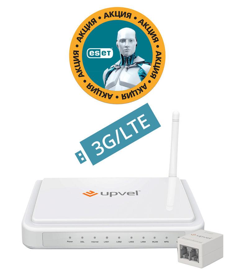 Беспроводной маршрутизатор UPVEL UR-344AN4G UNIVERSAL,  ADSL2+,  белый [ur-344an4g universal_citilink]