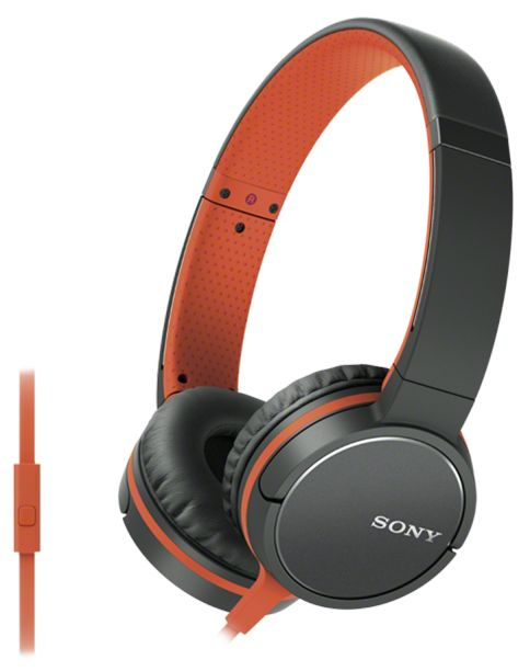 Наушники SONY MDRZX660APD.E, накладные,  оранжевый/черный, проводные