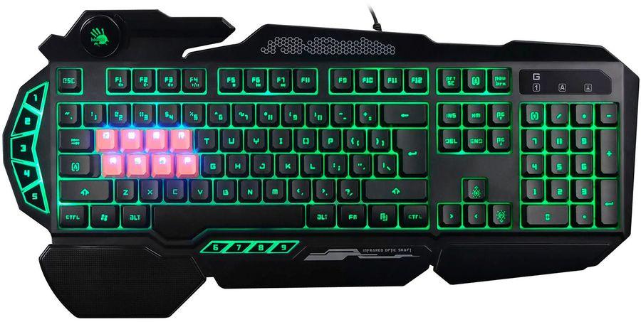 Клавиатура A4 Bloody B318,  USB, c подставкой для запястий, черный