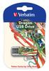 Флешка USB VERBATIM Mini Tattoo Dragon 16Гб, USB2.0, белый и рисунок [49888] вид 1
