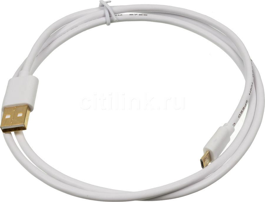 Кабель  2A Square,  micro USB B (m),  USB A(m),  1м,  белый