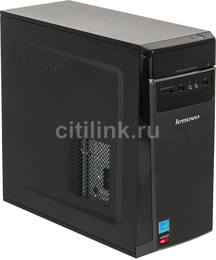 Компьютер  LENOVO IdeaCentre H50-05,  AMD  A4  6210,  DDR3 4Гб, 1000Гб,  AMD Radeon R3,  DVD-RW,  CR,  Windows 10,  черный [90bh003srs]