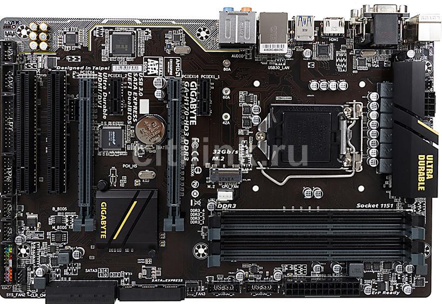 Материнская плата GIGABYTE GA-H170-HD3 DDR3 LGA 1151, ATX, Ret