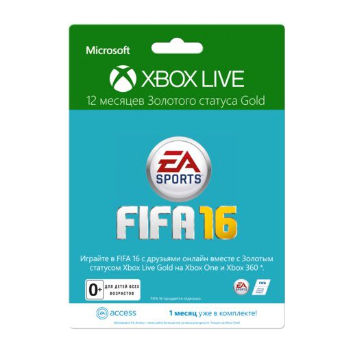 Карта подписки MICROSOFT Xbox Live Gold 12 мес+1 мес EA access, для  Xbox [52m-00556]