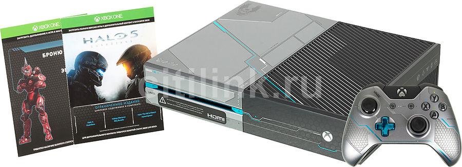 Игровая консоль MICROSOFT Xbox One с 1 ТБ памяти, игрой Halo 5 guardians,  KF6-00012, серый/камуфляж