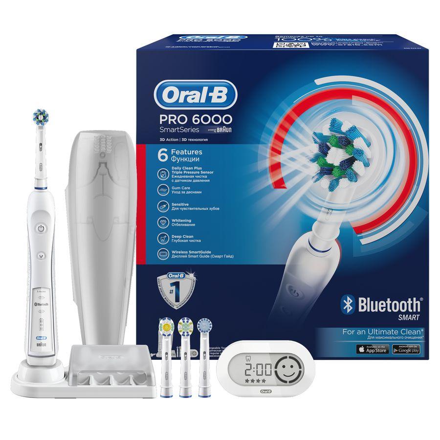 Электрическая зубная щетка ORAL-B c подключением по Bluetooth 4.0 PRO-6000 Smart Series белый [4210201134411/4210201138570]