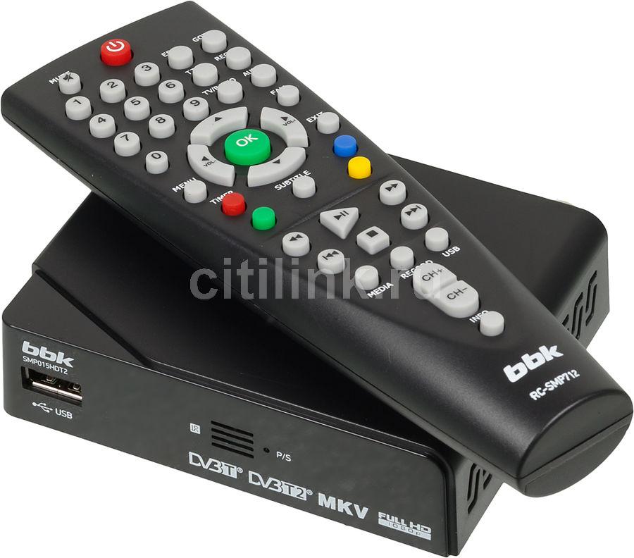 Ресивер DVB-T2 BBK SMP015HDT2,  черный