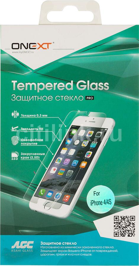 Защитное стекло для экрана ONEXT для Apple iPhone 4/4S,  1 шт [40740]