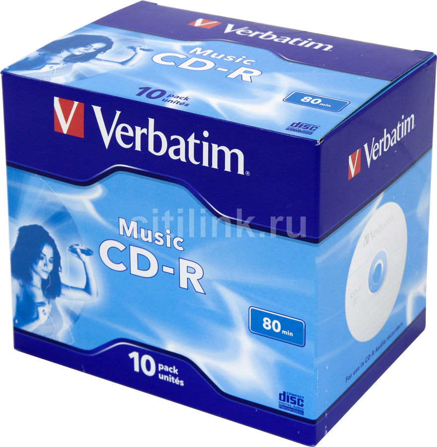 Оптический диск CD-R VERBATIM 700Мб 16x, 10шт., jewel case [43365]