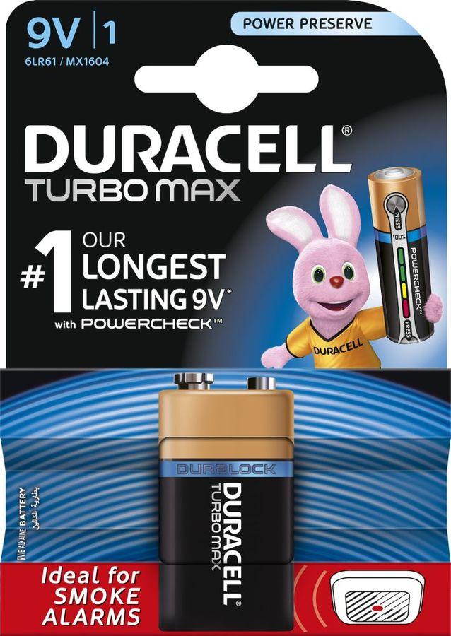 Батарея DURACELL Turbo MAX 6LR61-1BL,  1 шт. 9V
