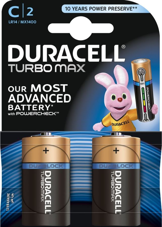 Батарея DURACELL Turbo MAX LR14-2BL,  2 шт. C