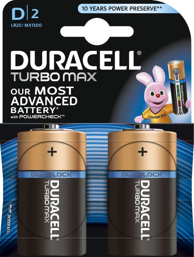 Батарея DURACELL Turbo MAX LR20-2BL,  2 шт. D