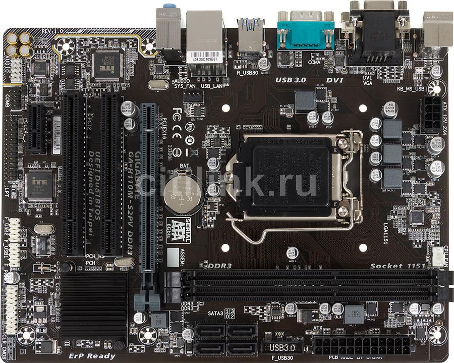 Материнская плата GIGABYTE GA-H110M-S2PV DDR3 LGA 1151, mATX, Ret