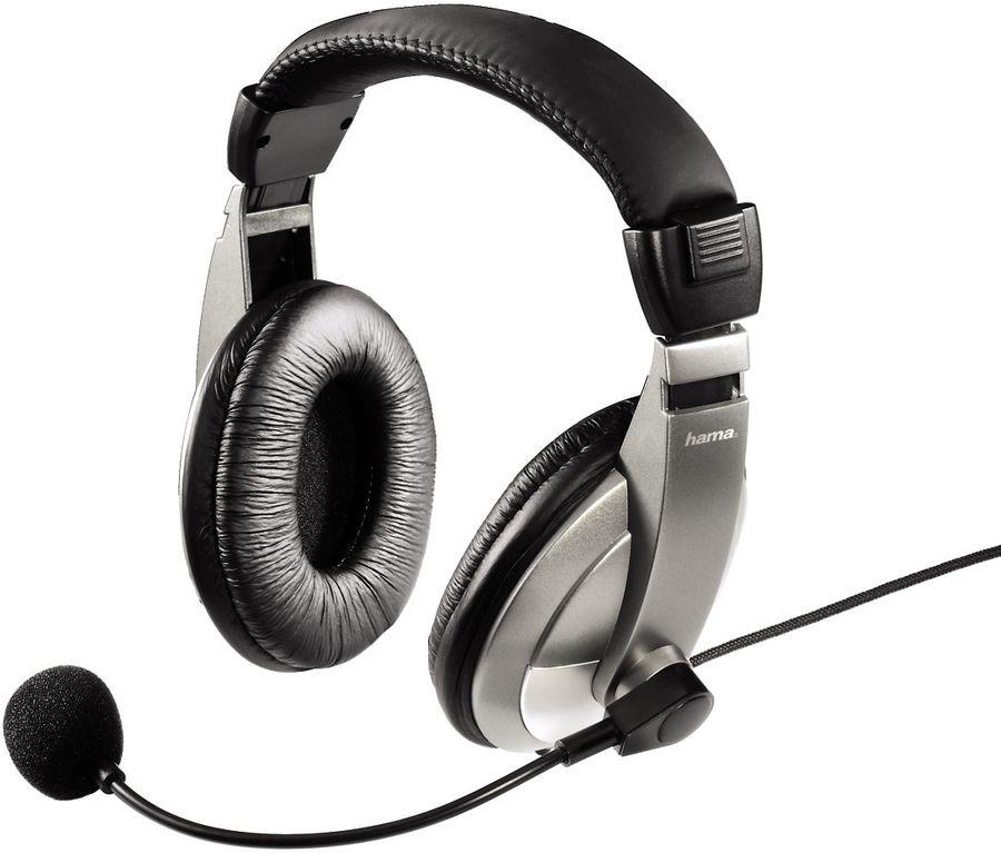 Наушники с микрофоном HAMA AH-100,  мониторы, черный  / серебристый [00053994]