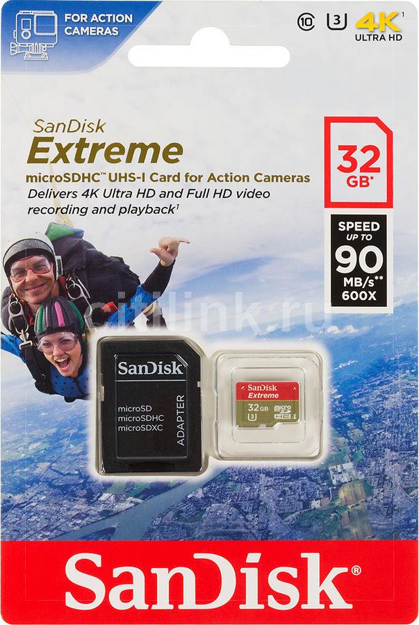 Карта памяти microSDHC UHS-I U3 SANDISK Extreme 32 ГБ, 90 МБ/с, 600X, Class 10, SDSQXNE-032G-GN6AA,  1 шт., переходник SD