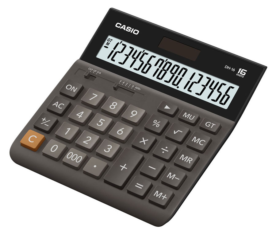Калькулятор CASIO DH-16,  16-разрядный, коричневый