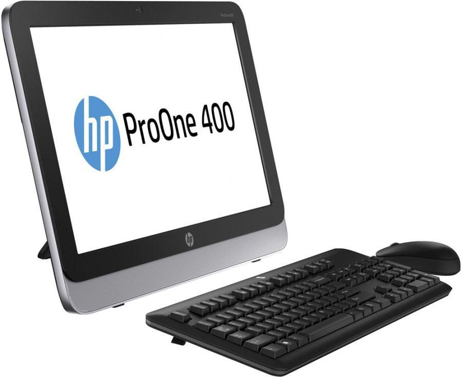 Моноблок HP ProOne 400, Intel Core i3 4160T, 4Гб, 500Гб, Intel HD Graphics 4400, DVD-RW, Windows 7 Professional, черный и серебристый [n0d18ea]