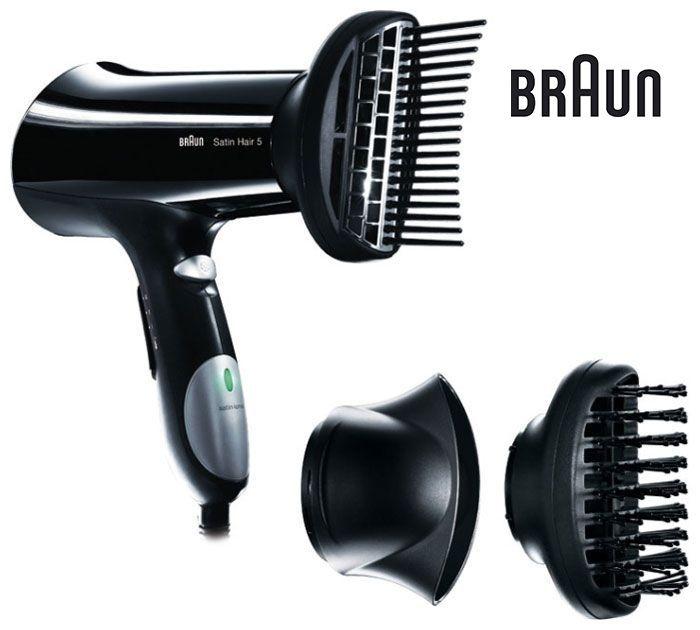 Фен BRAUN HD 550 StrAttach, 1900Вт, черный и черный