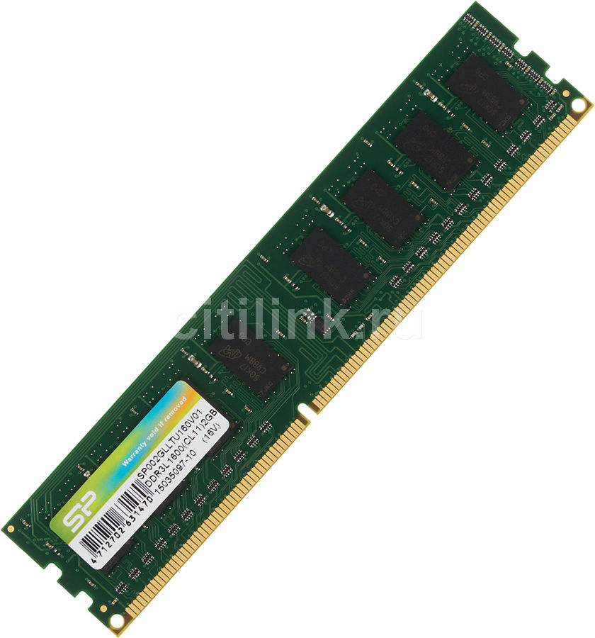 Модуль памяти SILICON POWER SP002GLLTU160V01 DDR3L -  2Гб 1600, DIMM,  Ret