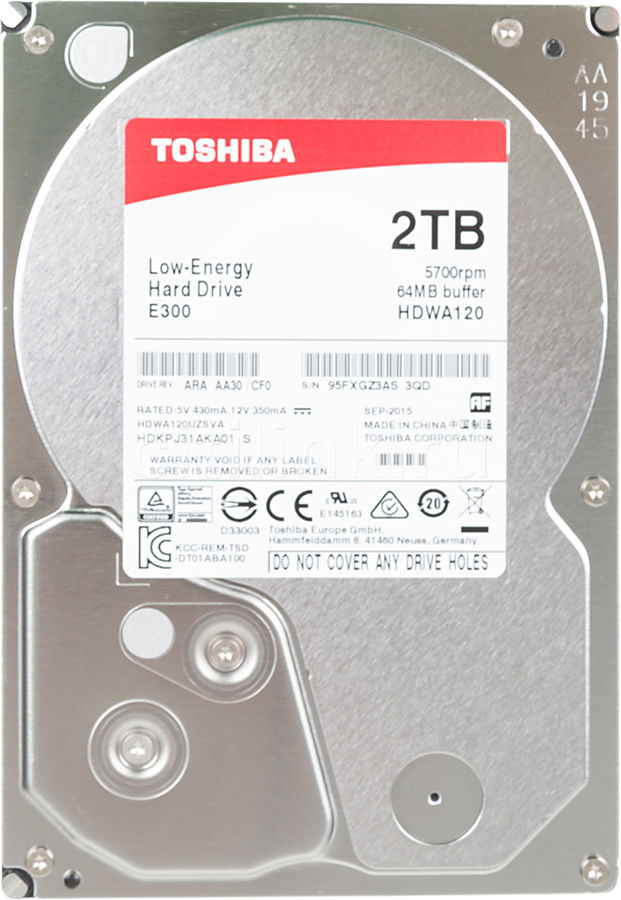 Жесткий диск TOSHIBA E300 HDWA120UZSVA,  2Тб,  HDD,  SATA III,  3.5