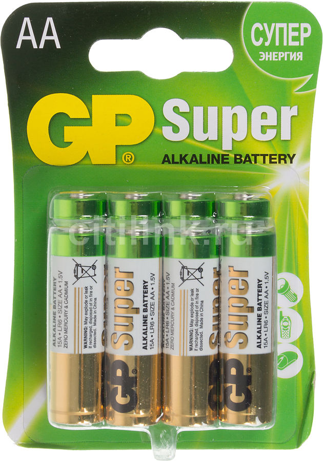 Батарейка GP Super Alkaline 15A LR6,  8 шт. AA
