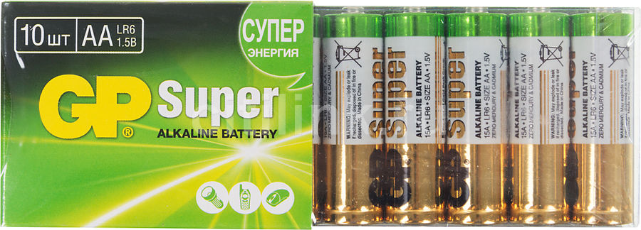 Батарея GP Super Alkaline 15A LR6, 10 шт. AA