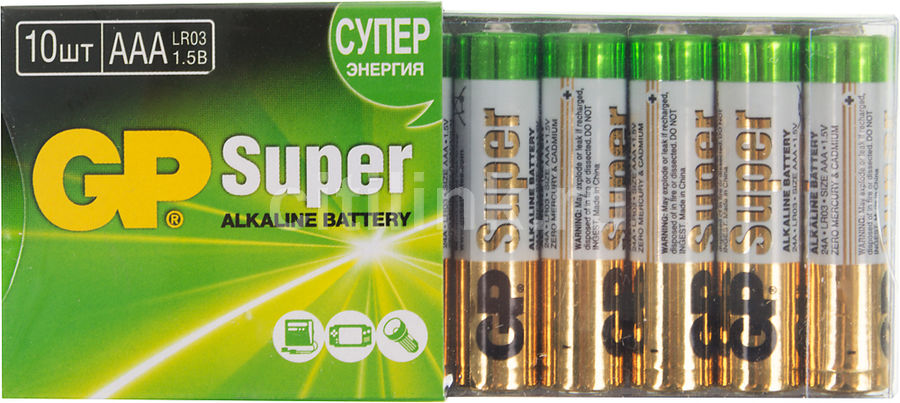 Батарея GP Super Alkaline 24A LR03,  10 шт. AAA
