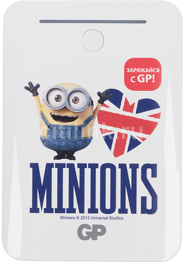 Внешний аккумулятор GP Portable PowerBank GL301WE Minions Heart,  10400мAч,  белый [gl301we-2cr1_heart]