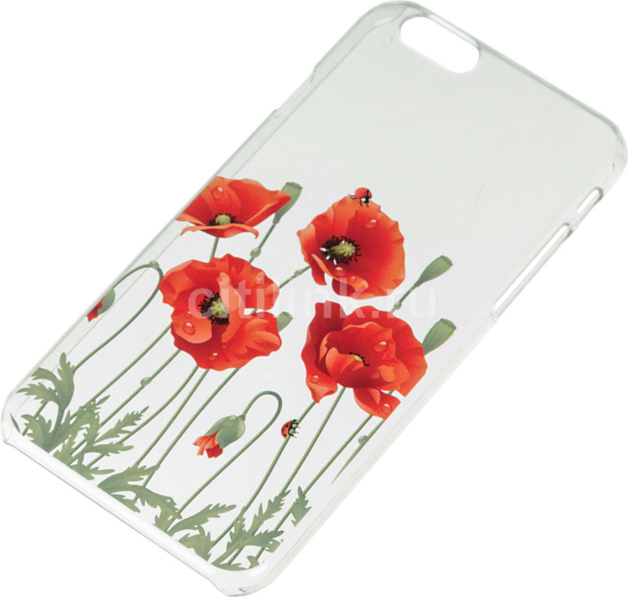 Чехол (клип-кейс) DEPPA Art Case, Flowers Мак, для Apple iPhone 6, прозрачный [100102]