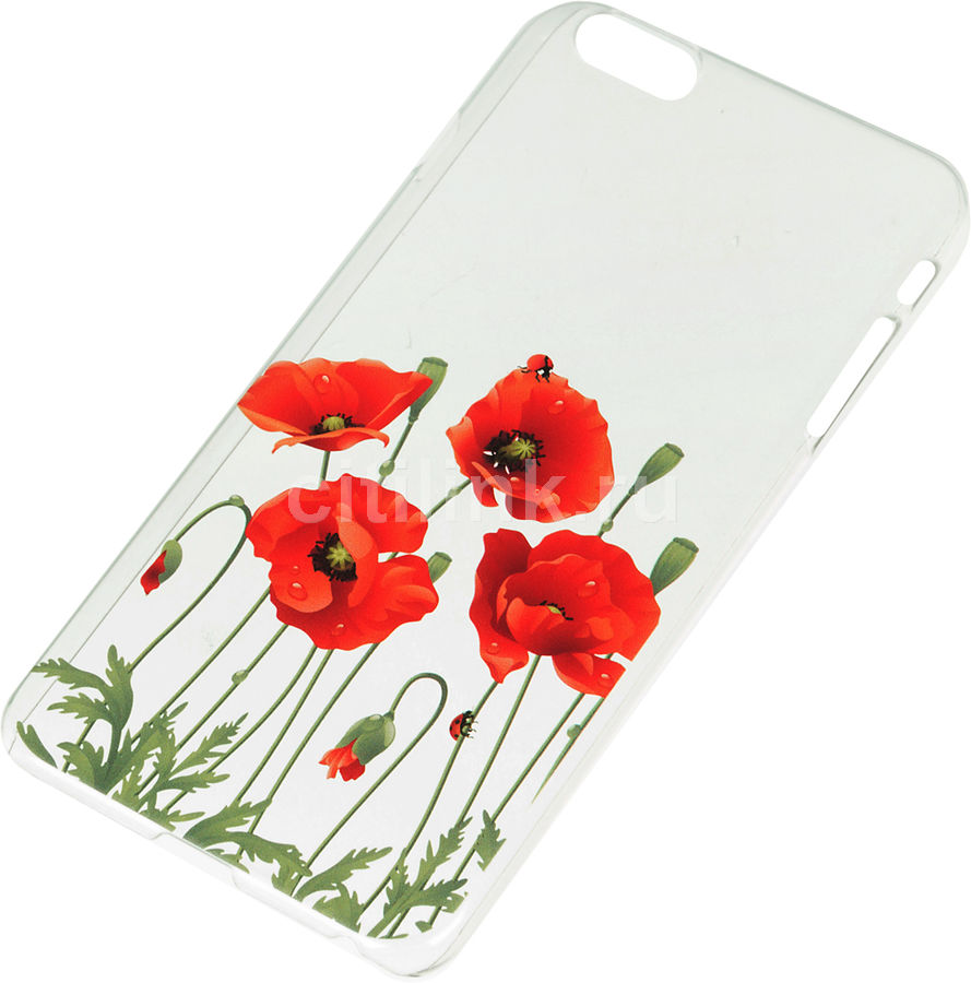Чехол (клип-кейс) DEPPA Art Case Flowers Мак, для Apple iPhone 6 Plus, прозрачный [100106]