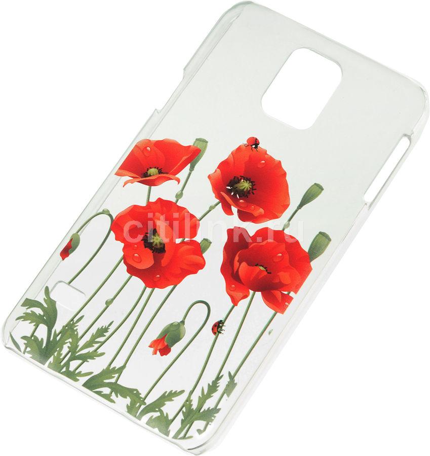 Чехол (клип-кейс) DEPPA Art Case Flowers Мак, для Samsung Galaxy S5, прозрачный [100110]