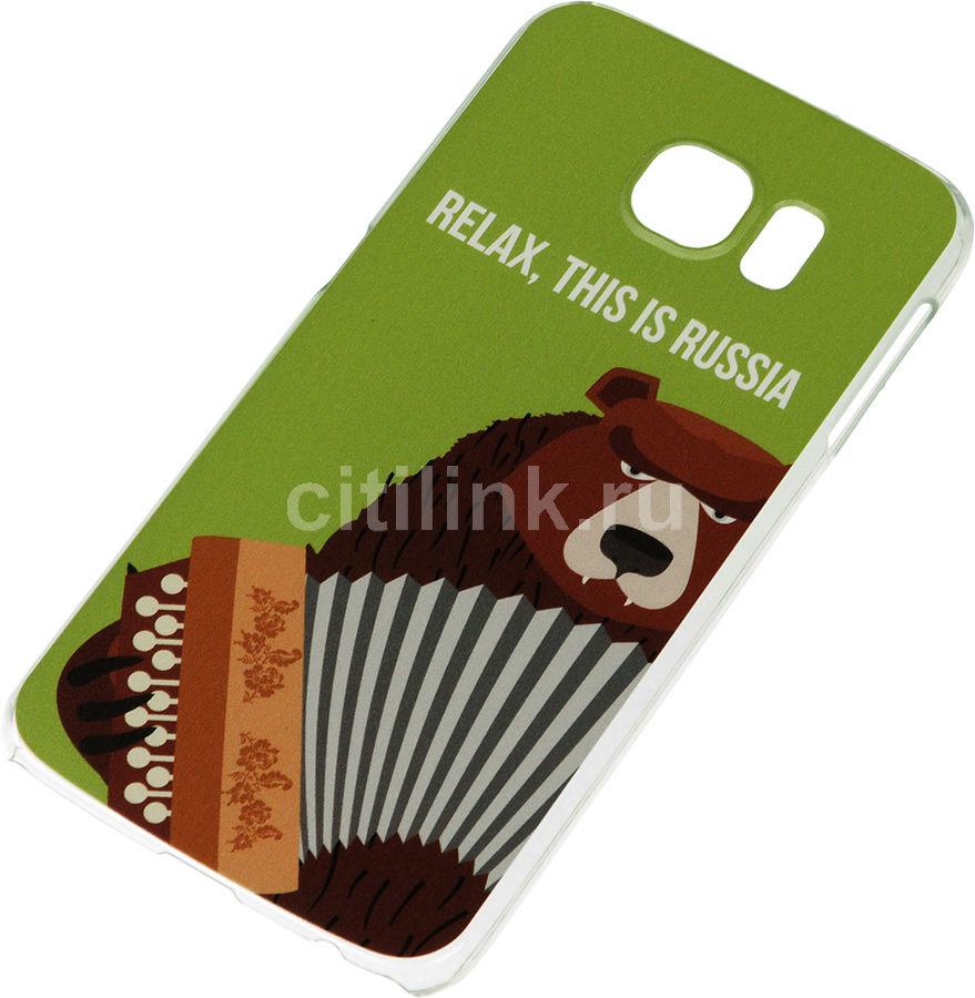 Чехол (клип-кейс) DEPPA Art Case Патриот Медведь, для Samsung Galaxy S6, зеленый [100324]