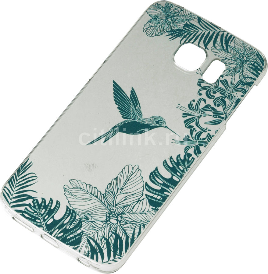 Чехол (клип-кейс) DEPPA Art Case Jungle Колибри, для Samsung Galaxy S6 Edge, прозрачный [100173]