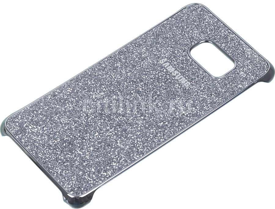 Чехол (клип-кейс) SAMSUNG Glitter Cover G928, для Samsung Galaxy S6 Edge Plus, серебристый [ef-xg928csegru]