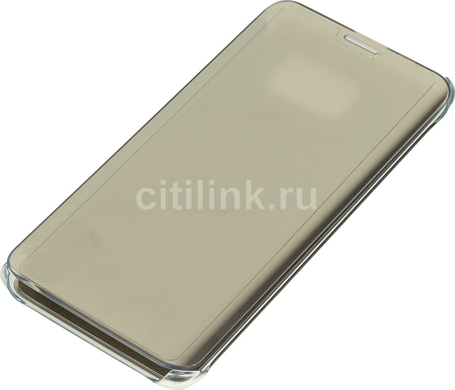 Чехол (флип-кейс) SAMSUNG Clear View Cover G928, для Samsung Galaxy S6 Edge Plus, золотистый [ef-zg928cfegru]