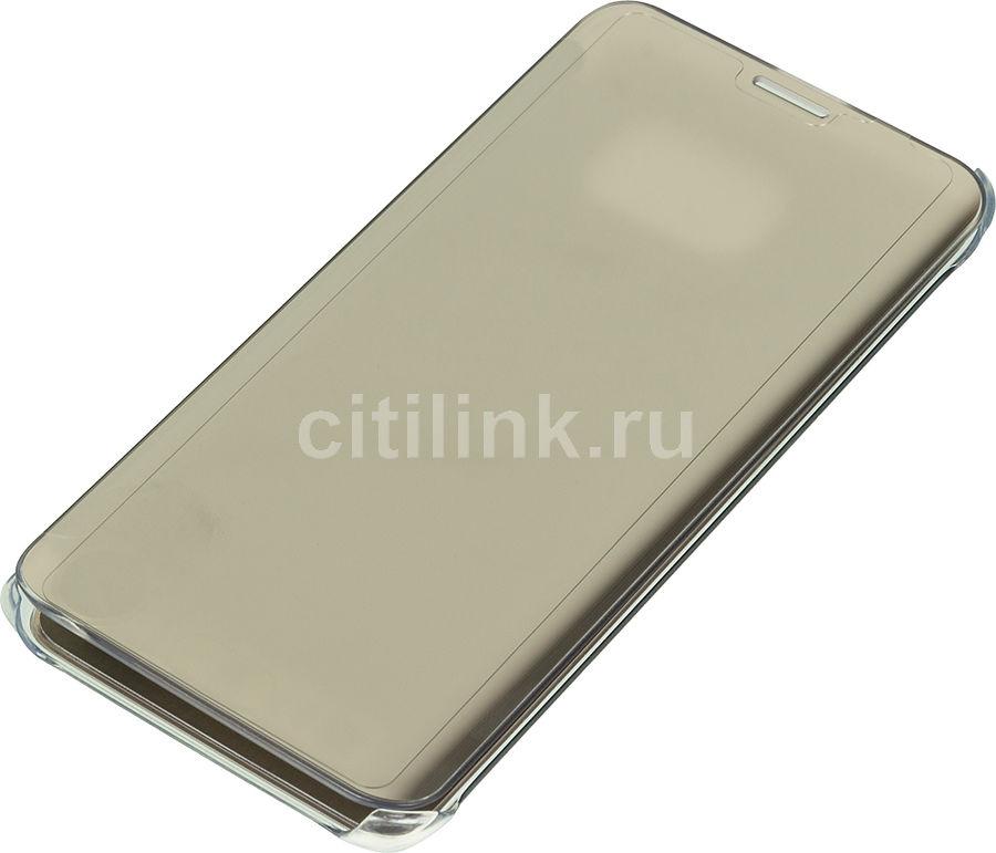 Чехол (флип-кейс) SAMSUNG Clear View Cover G928, для Samsung Galaxy S6 Edge Plus, золотистый [ef-zg928cfegru]