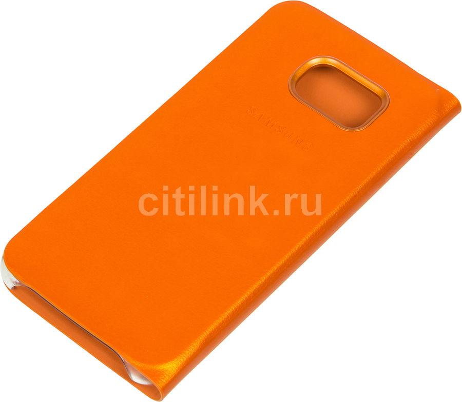 Чехол (флип-кейс) SAMSUNG Flip Wallet, для Samsung Galaxy S6 Edge, оранжевый [ef-wg925poegru]