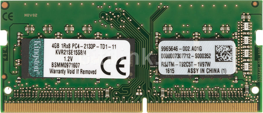 Память DDR4 Kingston KVR21SE15S8/4 4Gb SO-DIMM ECC U PC4-17000 CL15 2133MHz