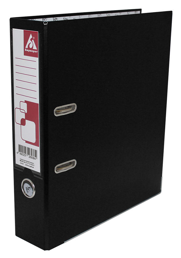 Папка-регистратор Бюрократ -BRT70PVC/PAPBLACK A4 70мм ПВХ/бумага черный