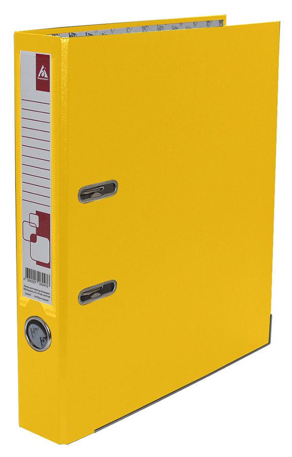 Папка-регистратор Бюрократ -BRT50PVC/PAPYEL A4 50мм ПВХ/бумага желтый мет.окант. смен.карм. на кор.