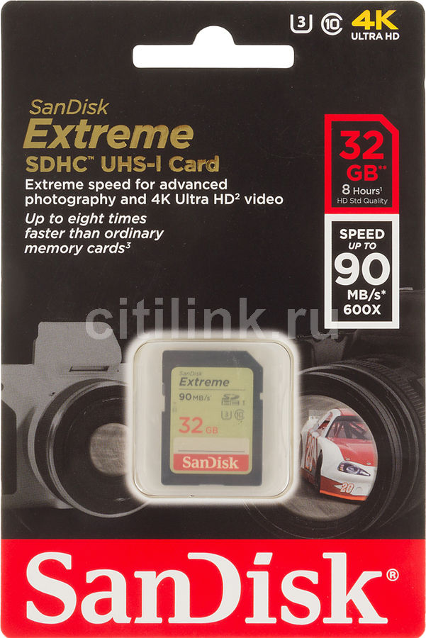 Карта памяти SDHC UHS-I SANDISK Extreme 32 ГБ, 90 МБ/с, Class 10, SDSDXNE-032G-GNCIN,  1 шт.