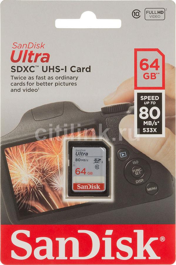 Карта памяти SDXC UHS-I SANDISK Ultra 80 64 ГБ, 80 МБ/с, Class 10, SDSDUNC-064G-GN6IN,  1 шт.