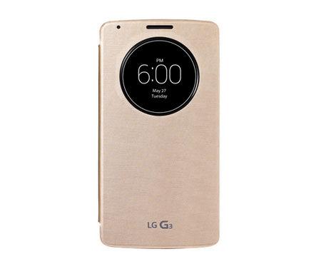 Чехол с функцией беспроводной зарядки LG Quick Circle, для LG G3, золотистый [ccf-340g.ageugd]