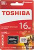 Карта памяти microSDHC UHS-I U1 TOSHIBA M302 16 ГБ, 90 МБ/с, Class 10, THN-M302R0160EA,  1 шт., переходник SD вид 1