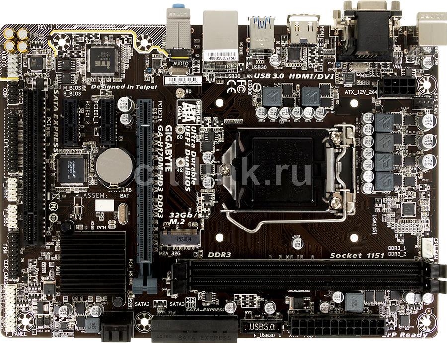 Материнская плата GIGABYTE GA-H170M-HD3 DDR3 LGA 1151, mATX, Ret
