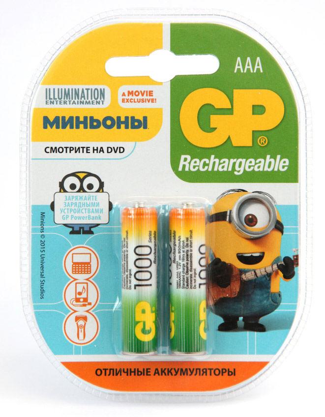 Аккумулятор GP 100AAAHC Minions,  2 шт. AAA,  1000мAч