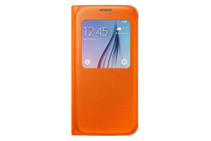 Чехол (флип-кейс) SAMSUNG S View Cover, для Samsung Galaxy S6, оранжевый [ef-cg920poegru]