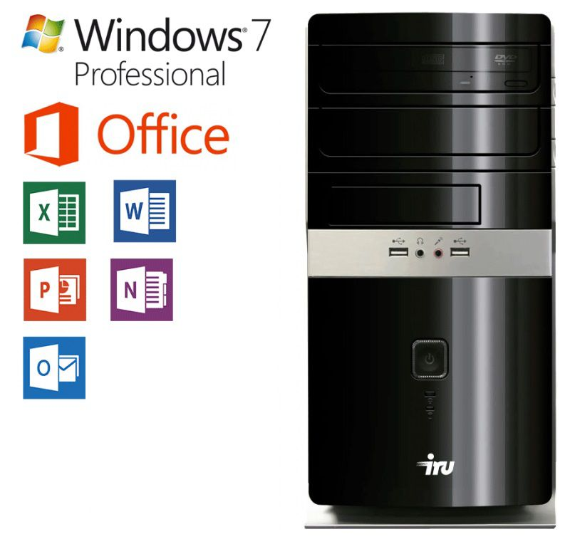 Компьютер  IRU Office 311,  Intel  Pentium  G3250,  DDR3 4Гб, 500Гб,  Intel HD Graphics,  Windows 7 Professional,  черный [337788]
