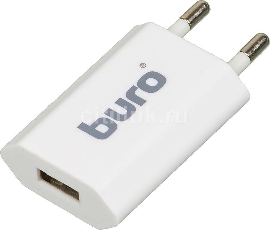 Сетевое зарядное устройство BURO TJ-164w,  USB,  1A,  белый