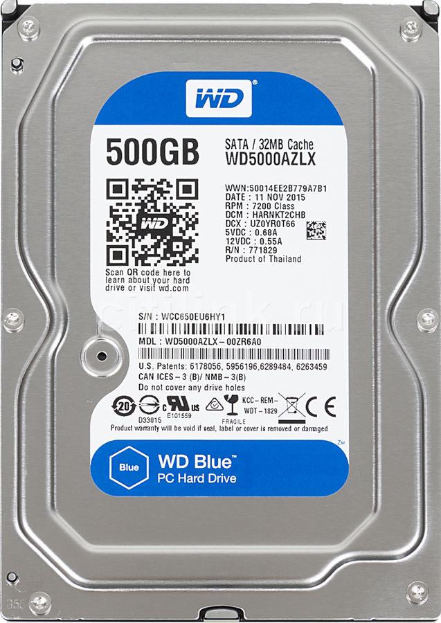 "Жесткий диск WD Blue WD5000AZLX,  500Гб,  HDD,  SATA III,  3.5"""